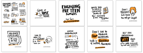 An image of 10 thumbnail images depicting ways to connect with tweens.