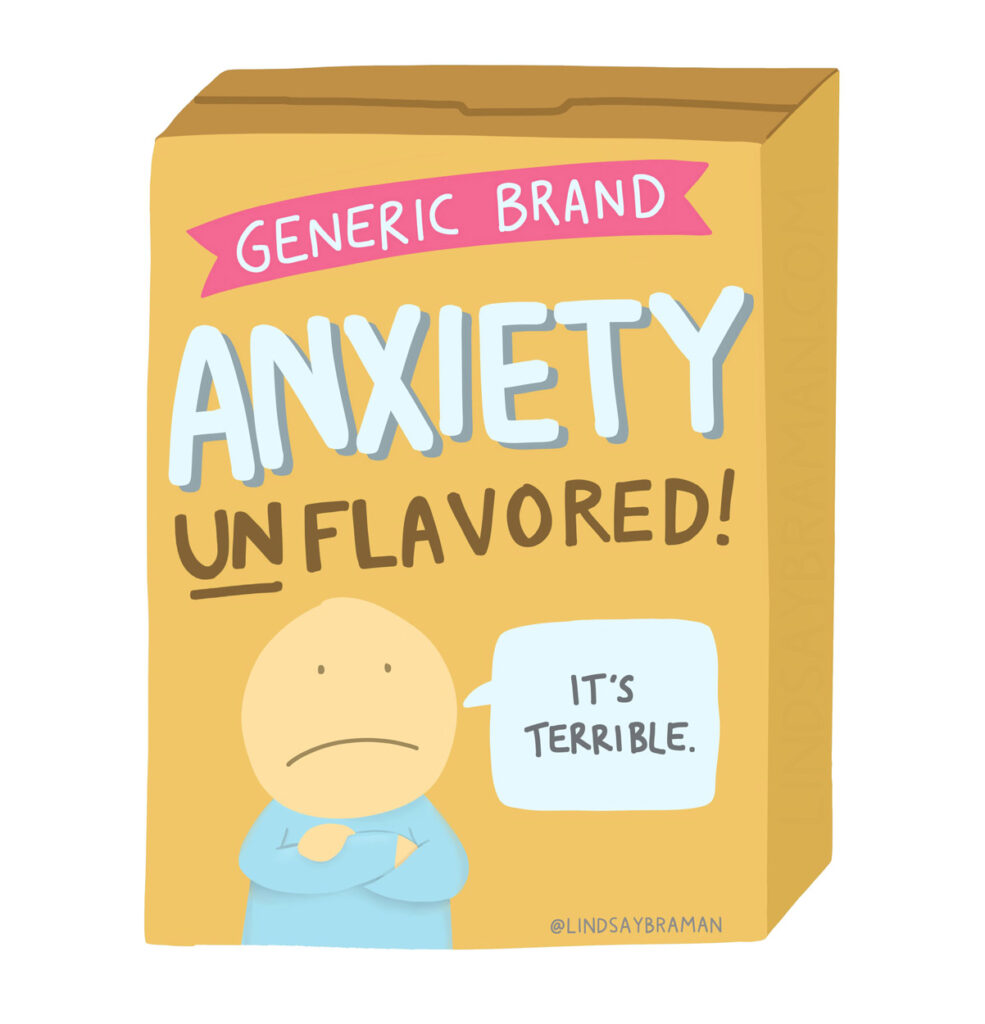 A digital drawing of a box of cereal, labeled as anxiety flavored.