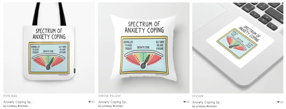 The Anxiety Coping Spectrum printed on either a tote bag, a pillow, or a sticker for purchase.
