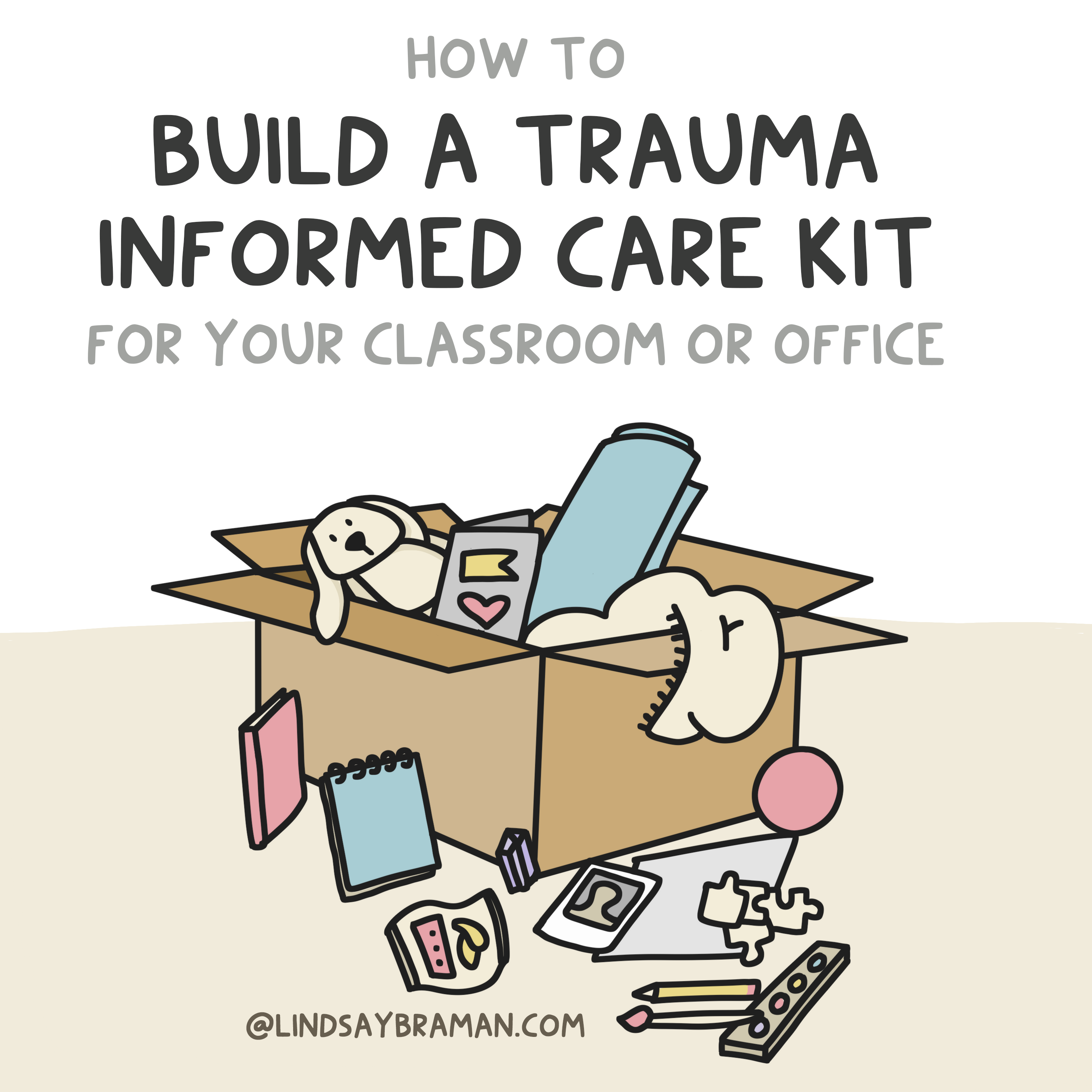 """Image is titled """"How to Build A Trauma Informed Care Kit for Your Classroom or Office."""" Below the title is a cardboard box sitting on a tan surface. Items are spilling out of the box: journals, notepads, paint and a paintbrush, a pencil, snacks, puzzle pieces, a polaroid, a ball, a yoga mat, a blanket, a stuffed animal, and a card."""