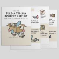 Pages of a booklet on building a trauma informed care kit are pictured on a grey backdrop.
