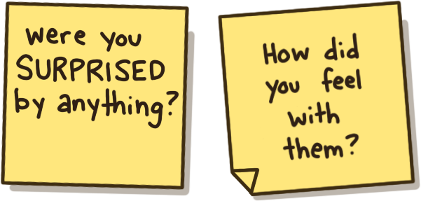 Hand drawn sticky notes