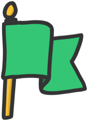 hand drawn doodle of a green colored waving flag.