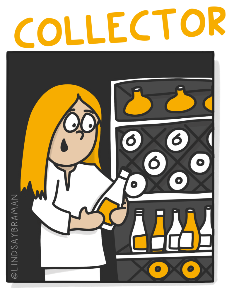 """Image titled, """"Collector."""" On a black background is a drawing of a person with a light skin-tone and long, gold hair and is wearing a white shirt and pants. The person is holding a jar and is standing next to a shelf filled with other types of jars and bottles."""