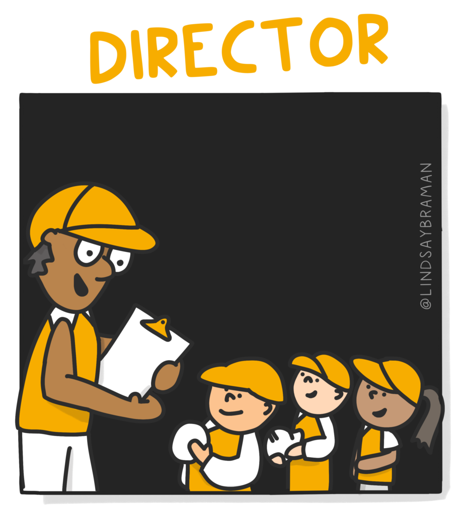 """An image titled """"Director."""" On a black background is a drawing of a person with a dark skin tone, wearing a golden-colored baseball cap, gold shirt, white shorts, and is holding a white clipboard. The coach is talking to three children, all wearing the same gold and white uniform. The first two children are holding white balls."""