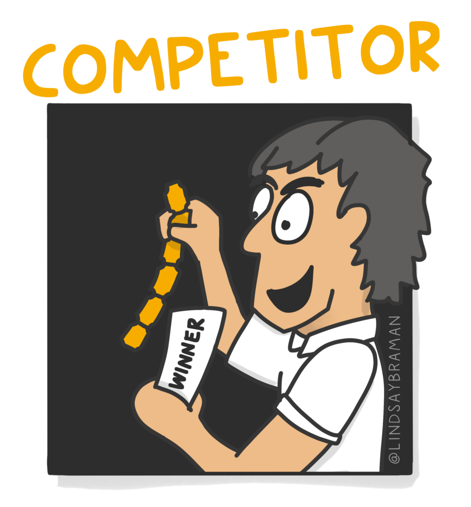 """Image titled, """"Competitor."""" On a black background is a drawing of a lighter skin-toned person with short grey hair, wearing a white polo shirt. The person is holding a strip of game tickets and a card that says, """"winner."""""""