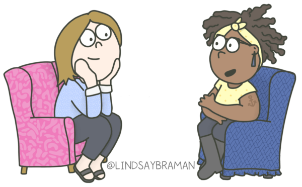 Drawing of a white woman in a pink armchair looks lovingly at a black woman in a blue armchair, who appears to be speaking.