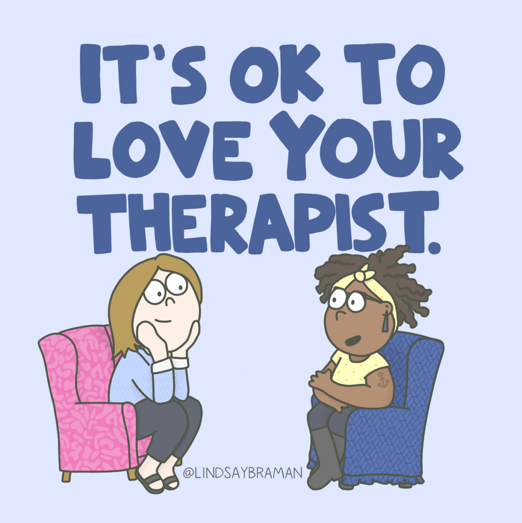 An illustration about it being okay to love your therapist.