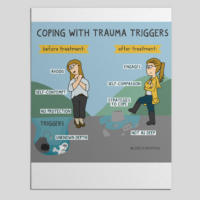 Image Description: An image of two women walking through a puddle, one is trying to avoid a big puddle unprepared and scared while the other confidently steps into a shallower puddle. The first person is labeled -coping with trauma triggers before treatment- and the second is labeled -after treatment-.