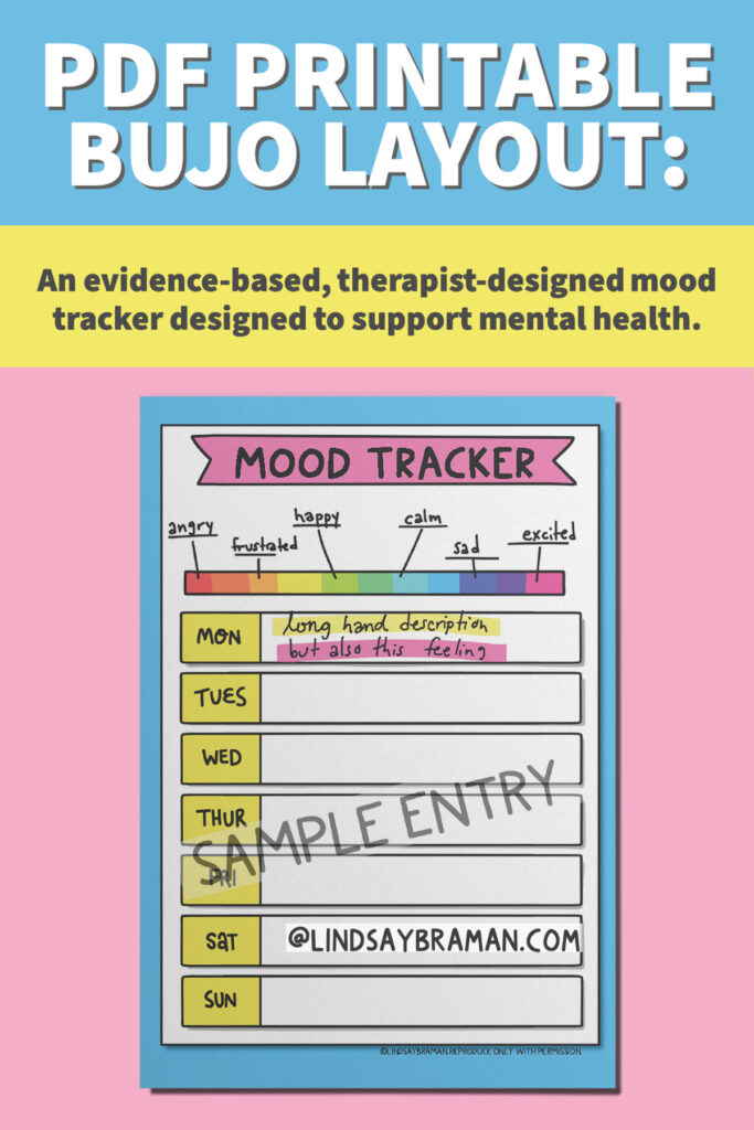 Image depicting the downloadable version of the Bullet Journal Mood Tracker.