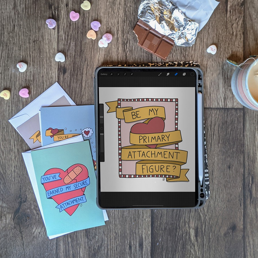 """""""Be my primary attachment figure?"""" Printable Valentine cards."""