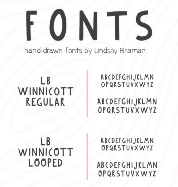 Handdrawn fonts by Lindsay Braman for download