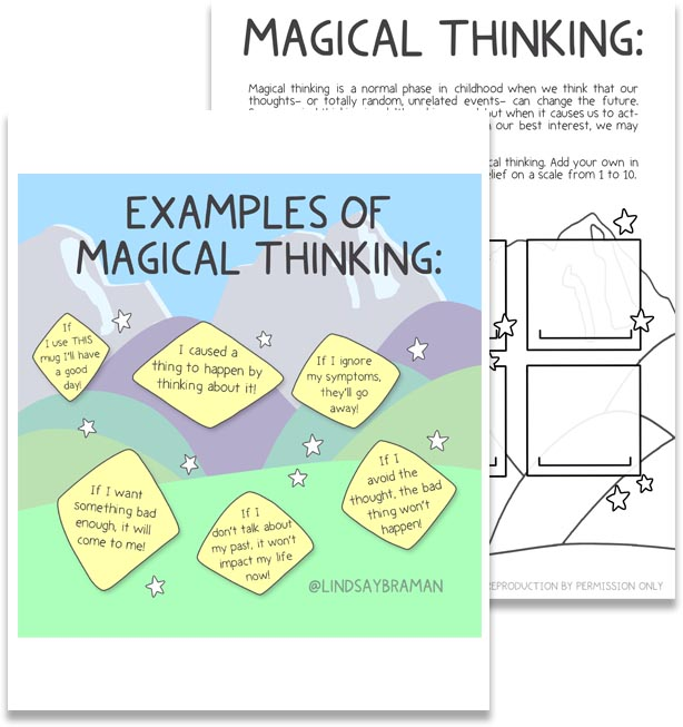 Mock up of PDF download of Magical Thinking image and worksheet.
