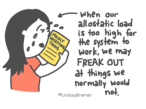 When our allostatic load is too high for the system to work, we may FREAK OUT at things we normally would not.