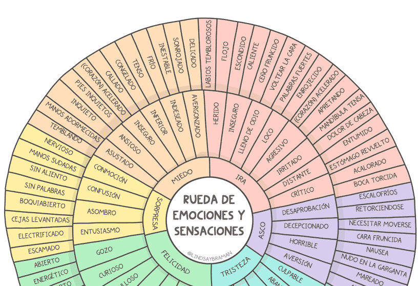 spanish language emotion sensation feeling wheel