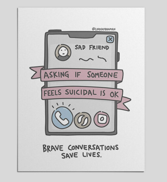 image of poster that says asking about suicide is ok brave conversations save lives