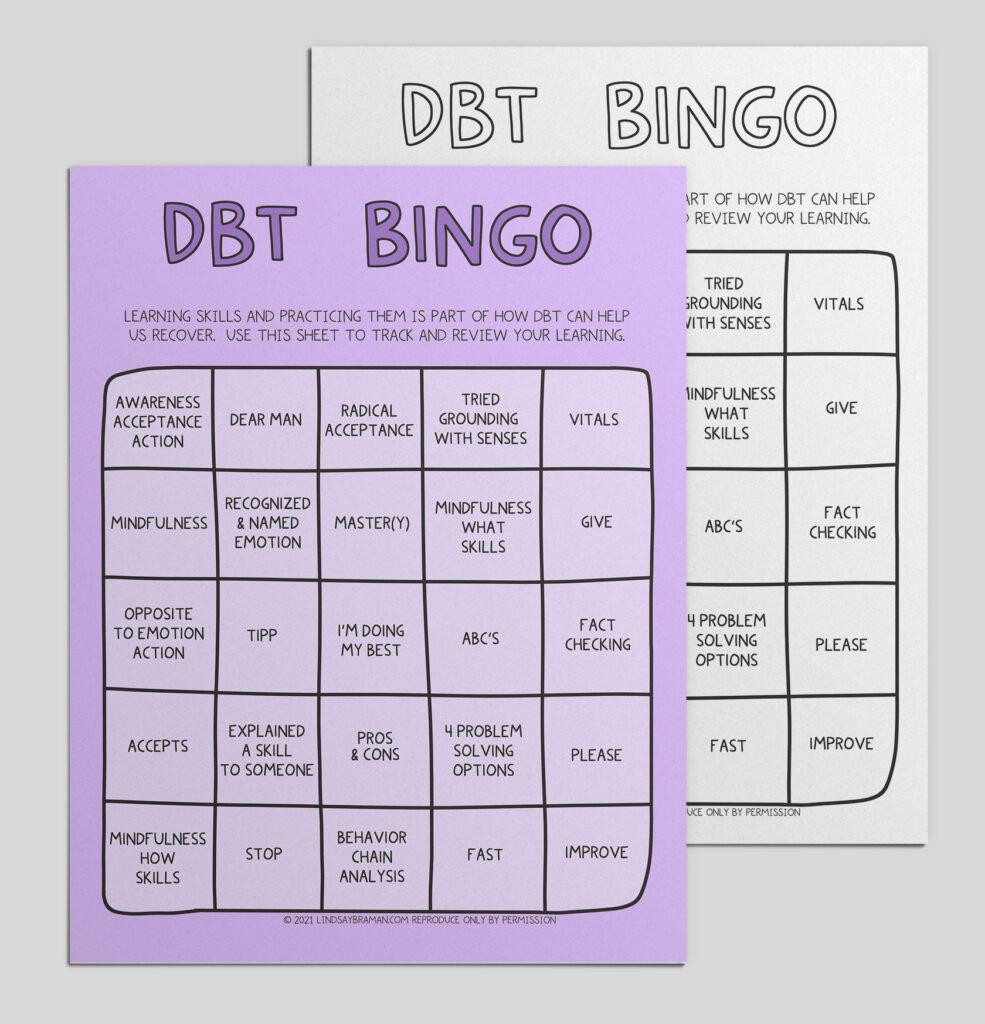 DBT Bingo Skills Tracking Card