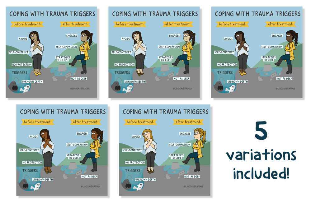 Image Description: An image of two women walking through a puddle, one is trying to avoid a big puddle unprepared and scared while the other confidently steps into a shallower puddle. The first person is labeled -coping with trauma triggers before treatment- and the second is labeled -after treatment- This image shows multiple thumbnails of this image depicting characters of different races.