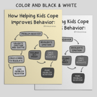A mockup of the flow chart in color and black and white.