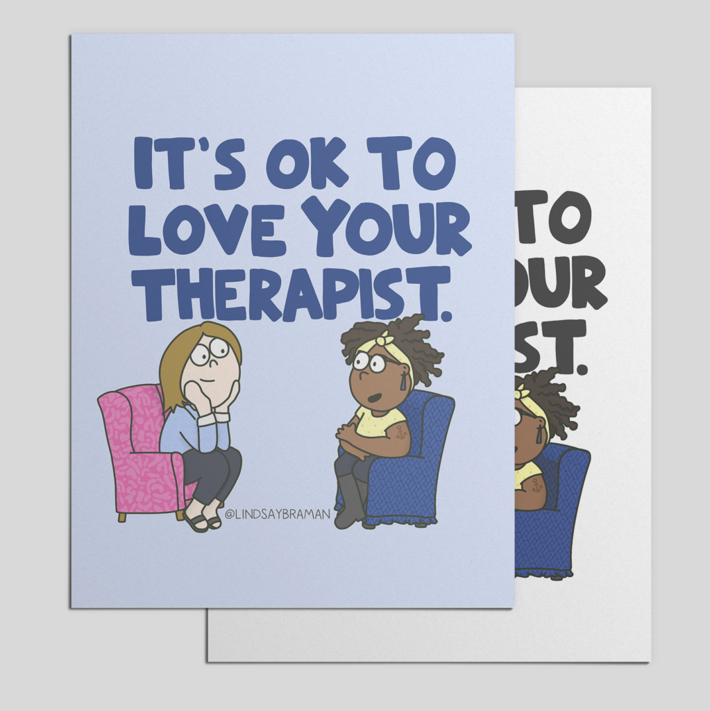 mockup of an illustration with writing it is ok to love your therapist.