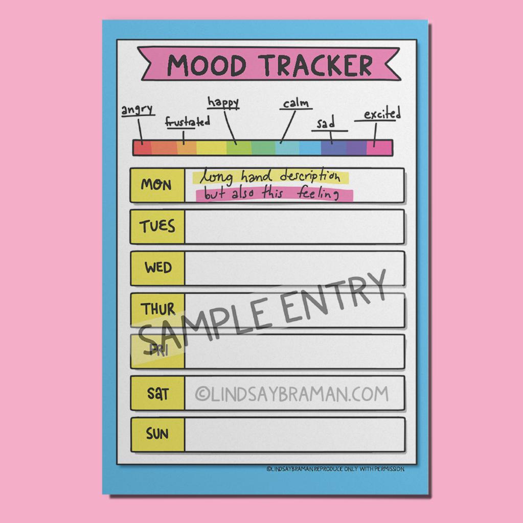 Bullet journal mood tracker layout mockup