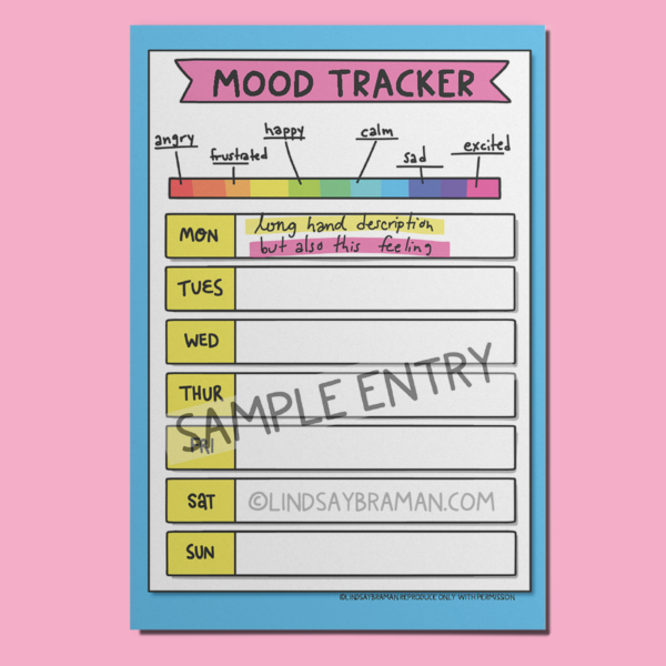 Sample entry in a bullet journal mood tracker with a pink background.