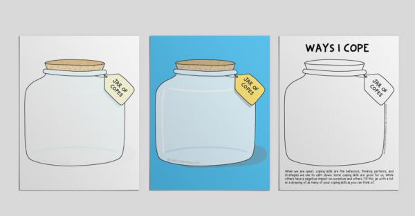 Cartoon jars on a mockup of a printout.